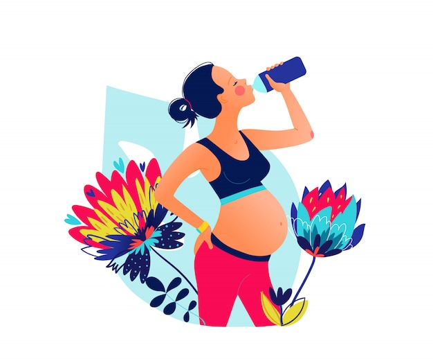 Young pregnant beautiful woman drinking water after training. stay hydrated. wellness . classes in single sports. hand drawn style  illustration Premium Vector