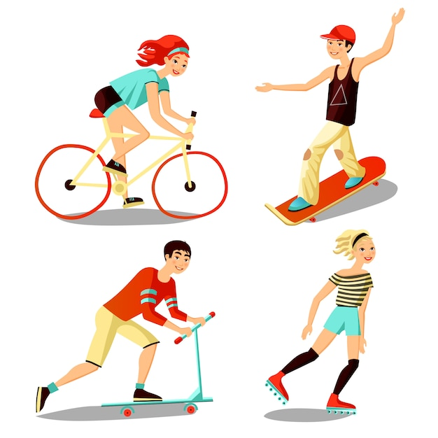 Young riders mini set Free Vector