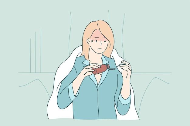 Молодая грустная больная больная девушка мультипликационный персонаж в одеяле наливает жаропонижающее или сироп от кашля из бутылки в ложку дома. Premium векторы