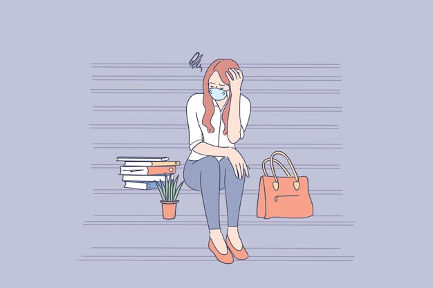 Young sad unhappy unemployed businesswoman in face mask sitting on stairs feeling stressed after failure and laid off from work during pandemic Premium Vector