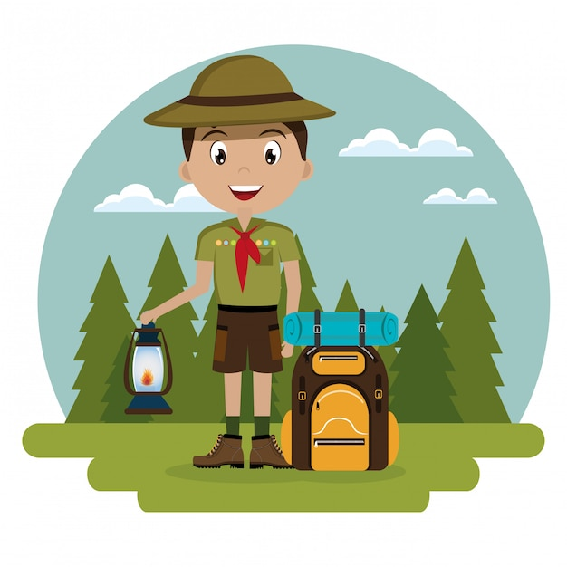 Young scout in the camping zone scene Free Vector