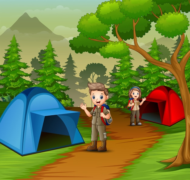 Young scout in the camping zone scene Premium Vector