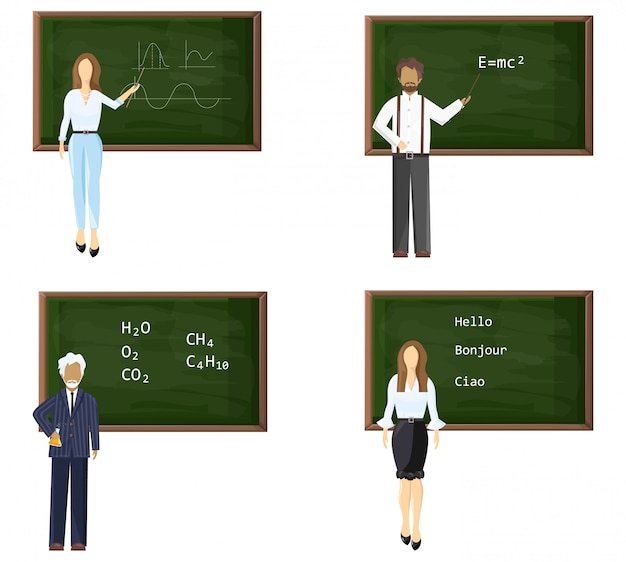 Young and senior male or female teachers near blackboard set Premium Vector