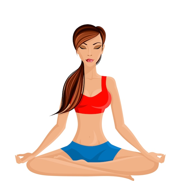 Young sexy slim woman practicing yoga in half\ lotus seated pose vector illustration