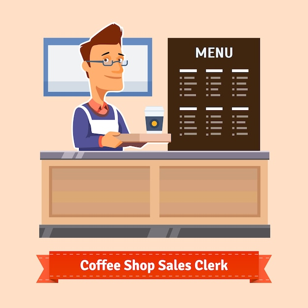 Young shop assistant serving a cup of coffee Free Vector