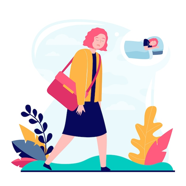Young sleepy woman going to work Free Vector