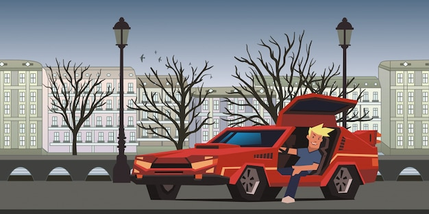 Young smiling guy sitting in red race car on autumn city background. traveler in the natural environment.   illustration, horizontal. Premium Vector