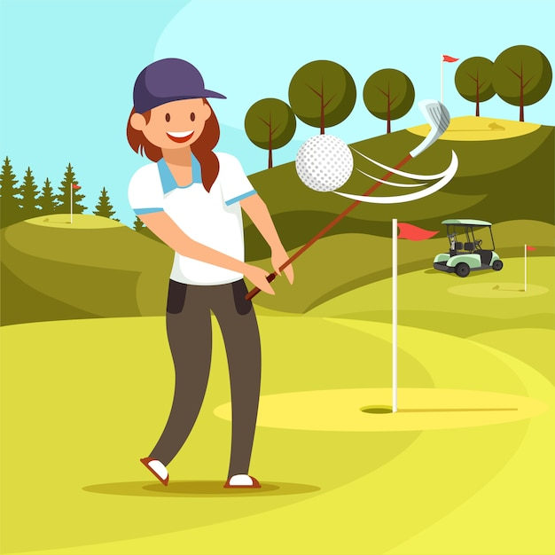 Young smiling woman playing golf on green course Premium Vector