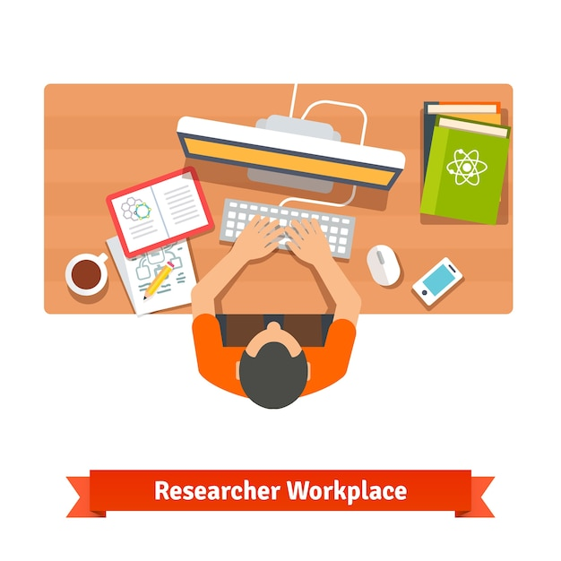 Young student or scientist studying at his home Free Vector