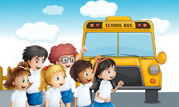 Young students waiting for the schoolbus Free Vector