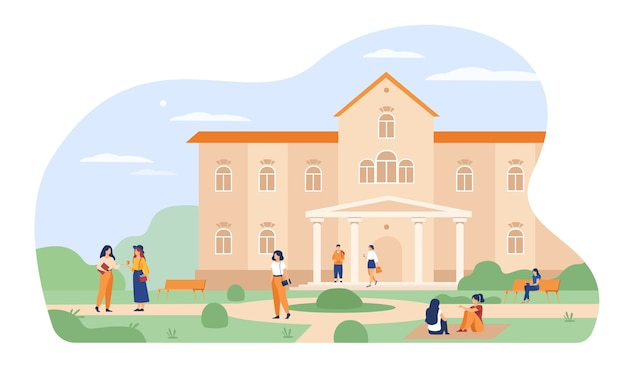 Young students walking in front of university or college building flat vector illustration. cartoon people relaxing and sitting on grass at campus. Free Vector
