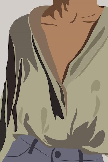 Молодая загорелая женщина, одетая в оливковую рубашку и джинсы. торс крупным планом Premium векторы