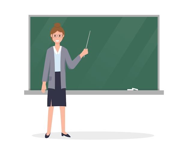 教室の黒板の近くにポインターを持つ若い先生。 Premiumベクター