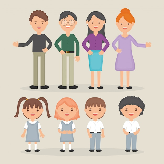 Young teachers group with students character Free Vector