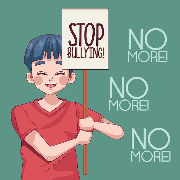 抗議バナーイラストでいじめのレタリングを停止する若い10代の少年 Premiumベクター