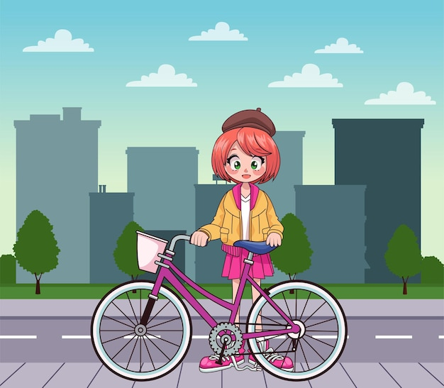 Young teenager girl in bicycle anime character on the city  illustration Premium Vector