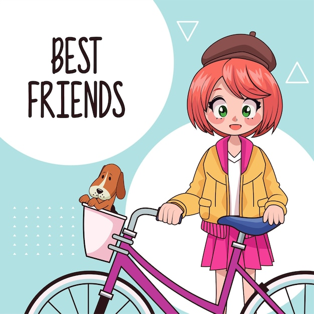 Young teenager girl in bicycle anime character  illustration Premium Vector