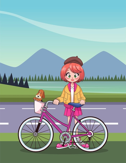 Young teenager girl in bicycle anime character in the road  illustration Premium Vector