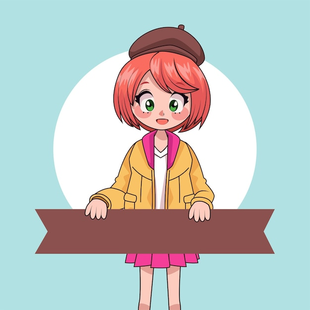 Young teenager girl lifting ribbon anime character  illustration Premium Vector