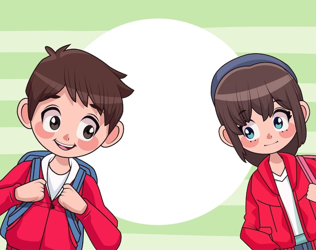 Young teenagers couple with schoolbag characters  illustration Premium Vector