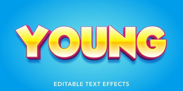 젊은 텍스트 3d 스타일 편집 가능한 텍스트 효과 프리미엄 벡터