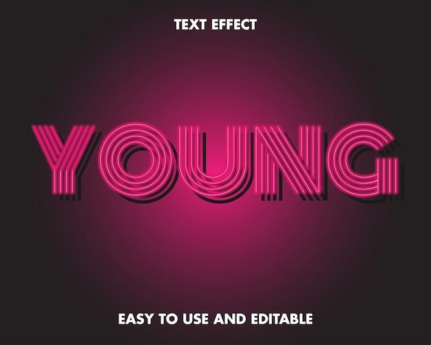 젊은 텍스트 효과. 사용하기 쉽고 편집 가능합니다. 프리미엄 프리미엄 벡터