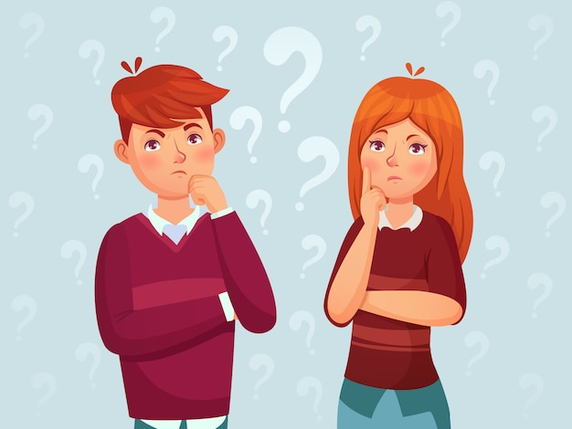 Young thinking couple. confused teenagers, worried thoughtful students and teenager think cartoon  illustration Premium Vector