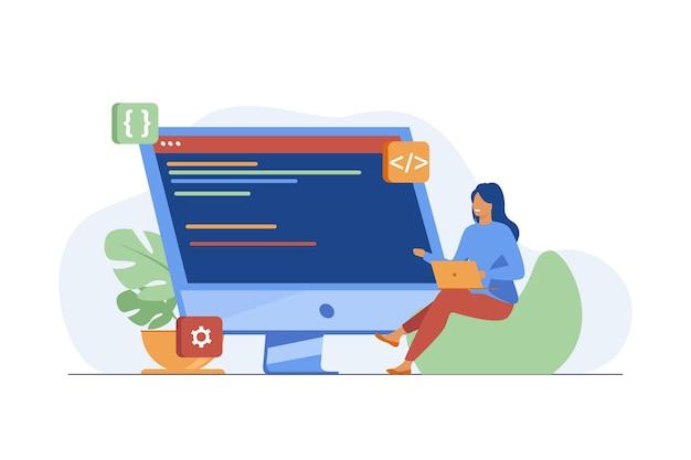 Giovane ragazza minuscola seduta e codifica tramite laptop. computer, programmatore, codice piatto illustrazione vettoriale. it e tecnologia digitale Vettore gratuito