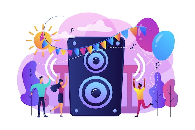 Young tiny people listening to music and dancing in city park at summer party. open air party, open air event, outdoor dance event concept. Free Vector