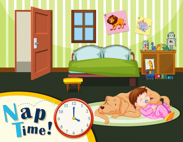 Young toddler nap time Free Vector