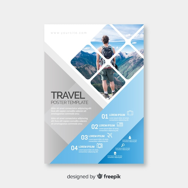 Young traveler with backpack around the world Free Vector