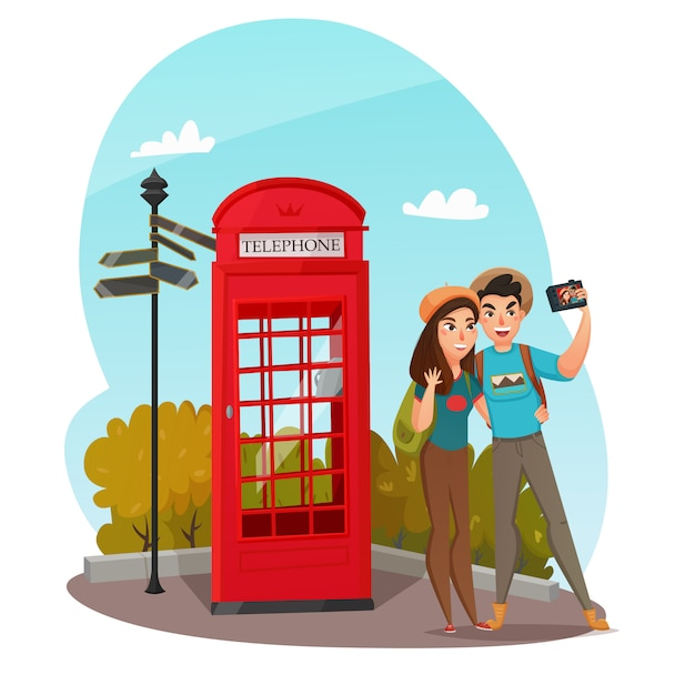 Young travelers composition Free Vector