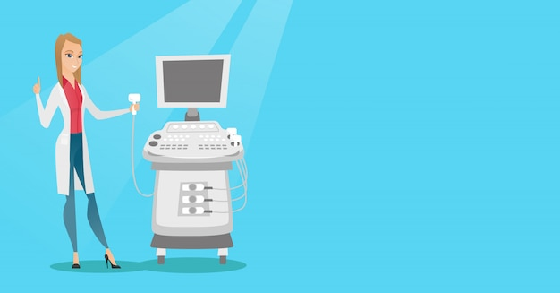 Young ultrasound doctor vector illustration. Premium Vector