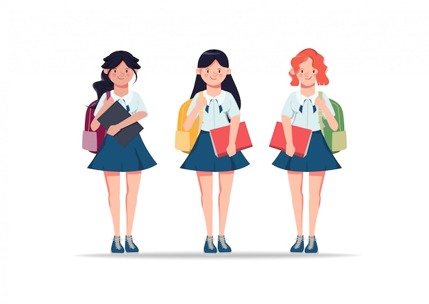 Premium Vector | Young woman animation characters in student clothes, friends. back to school illustration