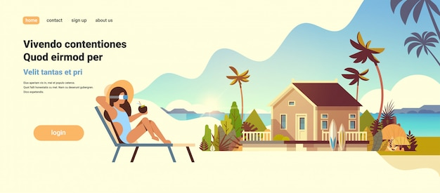 Young woman bikini wear digital glasses sitting sun lounger virtual reality vision villa house tropical beach summer vacation concept flat Premium Vector