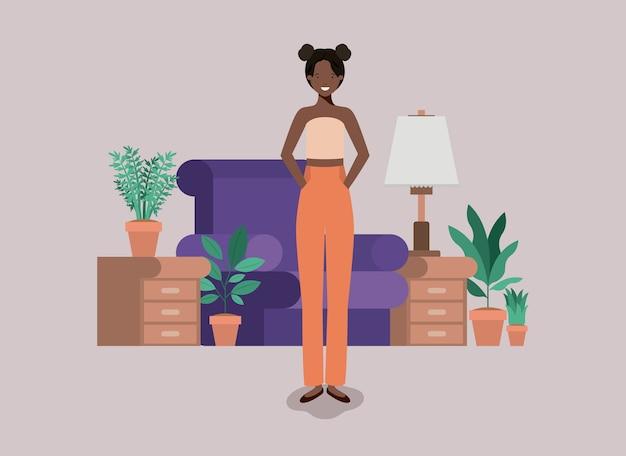 若い、女、黒、リビングルーム Premiumベクター