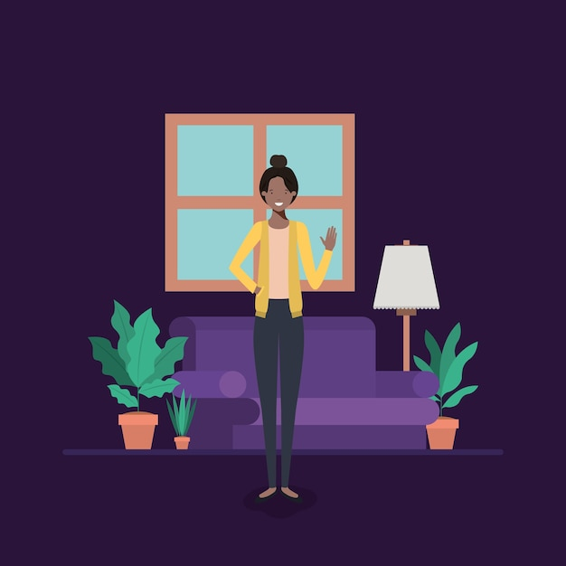 Young Woman Black On The Livingroom Premium Vector