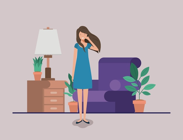 若い、女、呼び出し、livingroom Premiumベクター