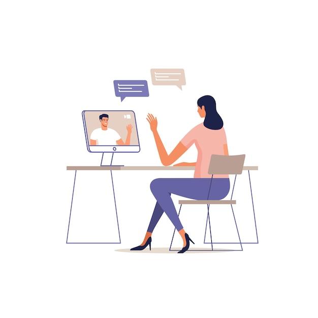 젊은 여자는 컴퓨터를 사용하여 온라인으로 통신합니다. 장치 화면에 남자. 프리미엄 벡터