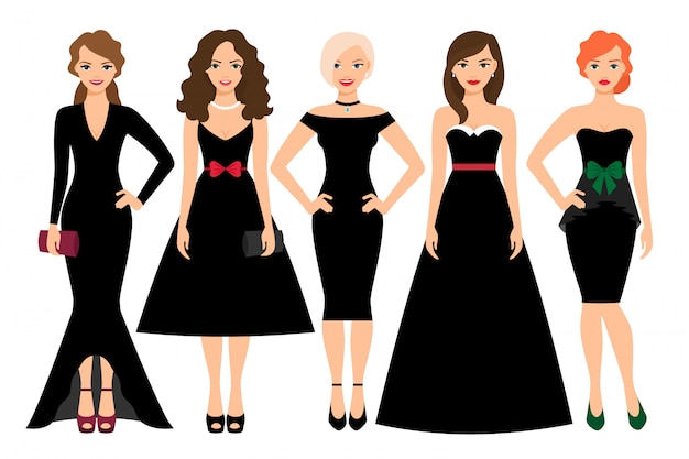 Young woman in different black dresses vector illustration. black fashion female model portrait isolated Premium Vector