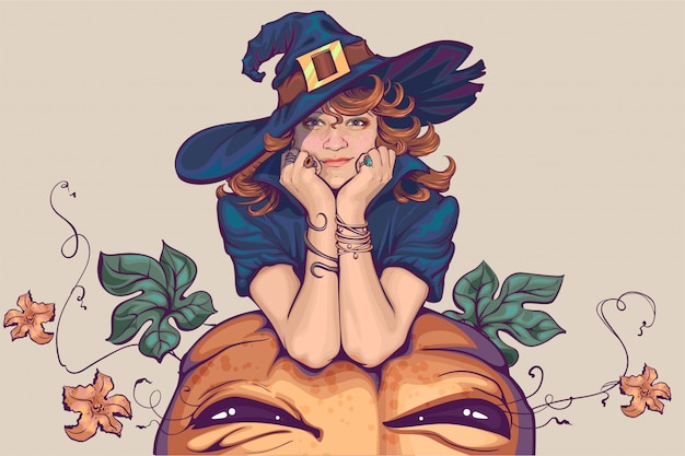 Young woman dressed up in witch costume. holiday halloween cosplay Premium Vector