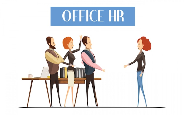 Young woman during communication with staff of office hr design Free Vector