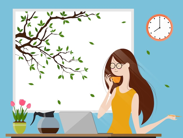 Young woman enjoying morning coffee and working on laptop computer Premium Vector