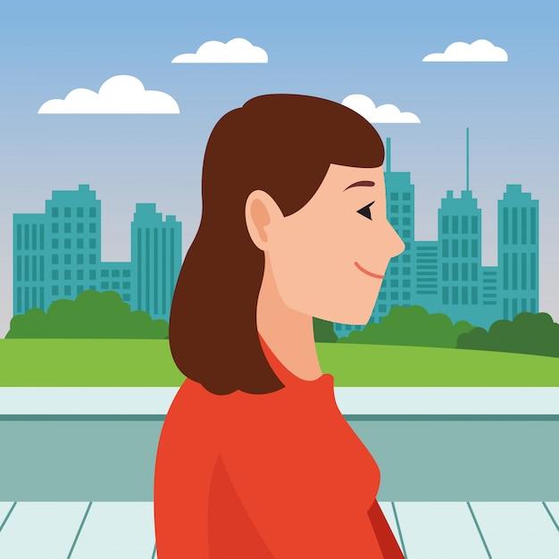 Young woman face head profile cartoon Premium Vector