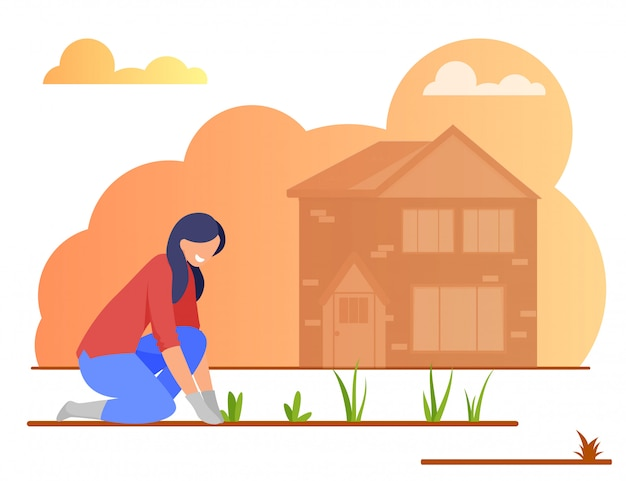 Young woman farmer in gloves planting flowers Premium Vector