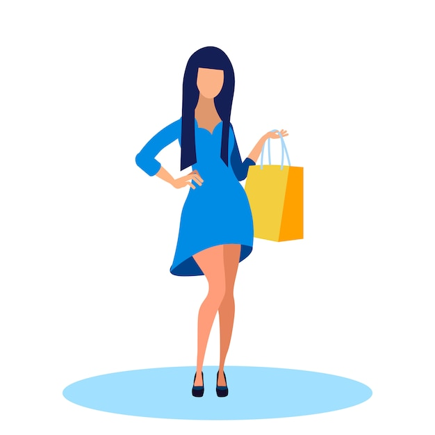 Young woman in fashionable dress flat illustration Premium Vector