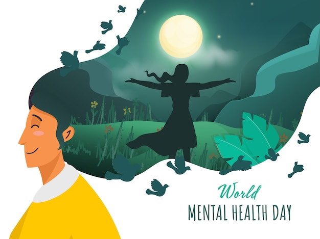 Young woman feel the air with open arms on nature view in night time for world mental health day. Premium Vector