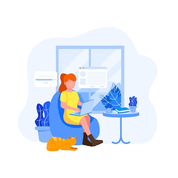 Young woman freelancer flat illustration Premium Vector