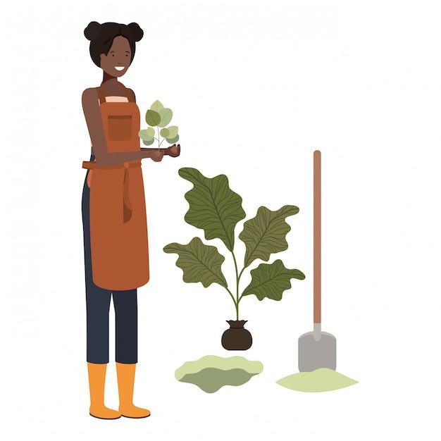 Young woman gardener avatar character Premium Vector