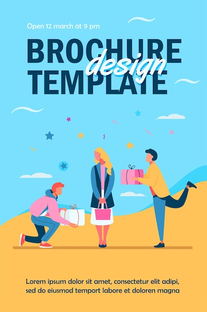 Young woman getting gifts from adorers flyer template Free Vector